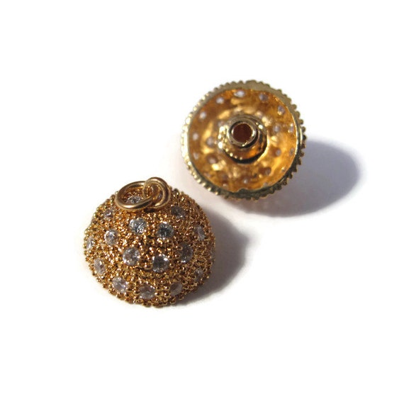One Gold Clasp, Gold Screw In Clasp, Round Pave Clasp Set with Crystals, Gold Plated, Clasp for Bracelets, Necklaces, Jewelry Supplies(F-20)