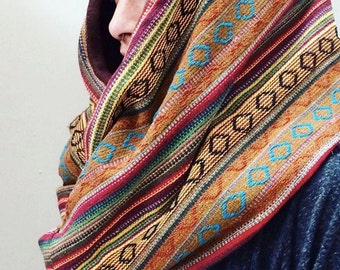 Fleece/Nepalese Infinity Scarf Hood Neck Warmer Custom Functional Fashion Six Traditional Nepalese Fabrics Soft Stretch Fleece Earthy Tribal