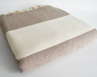 SALE 30 OFF / Herringbone Blanket / Brown / Twin XL / Bedcover, Beach blanket, Sofa throw, Traditional, Tablecloth