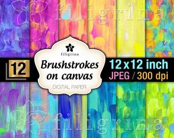 RAINBOW BRUSH strokes digital paper. Creative art canvas. Painted artistic textures 12x12 inches 12 printable backgrounds. Commercial use