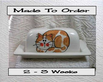 Pottery Butter Dish Ginger & White Cat Handmade Ceramic Original by Grace M Smith