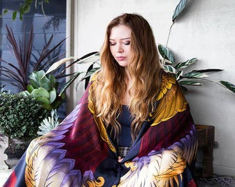 Cashmere Scarf, Festival Scarf, Kimono Shawl, Bird Scarf, Fantasy Bird Art, Wings Scarf, Tribal Shawl, Feather Wings Scarf, Printed Shawl