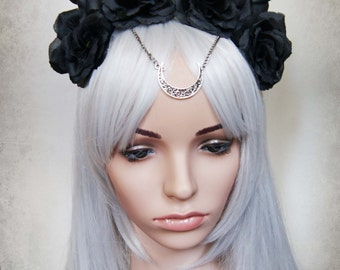 Moon devil flower crown ( Horns , Headdress, Roses, Goth , Fantasy )
