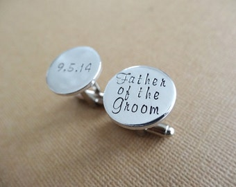 Father of the Groom Cufflinks - Personalized Wedding Cufflinks