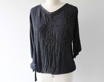 1920s Black Silk Beaded Blouse / Vintage 20s Tie Waist Embellished Silk Top / Small / Medium