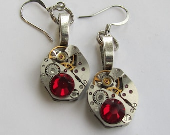 Steampunk Dangle Drop Earrings small vintage mechanical watch movements Ruby Red Swarovski crystals Birthday Jewelry Gift for Her