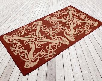 Woollen flat weave rug, Woven and backed. Brick red, Beige, Designer rug, flooring, wool, Celtic men, hand finished, home & living, celtic