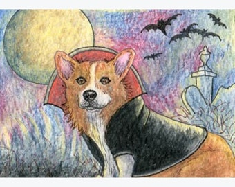 Pemroke Welsh Corgi dog pup 8 x 10 inch signed art print Halloween Dracula vampire happy howloween from a Susan Alison watercolor painting