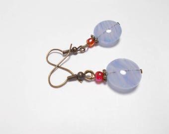 Dangle earrings purple Czech glass bead