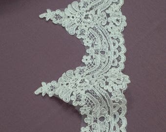 Ivory Lace Trimming by the yard, French Lace, Alencon Lace, Bridal Gown lace, Wedding Lace, White Lace, Veil lace, Garter lace EVSL023C