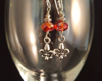 Red Czech Glass and Fleur de Lis earrings