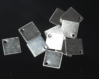 100 pcs nickel plated brass 9 mm square tag charms, findings 157N-35
