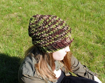 Nature Slouch Hat | Slouch Hat Crochet Pattern | Crochet Slouchy Beanie Pattern | Adult Teen Size Slouchy Crochet Hat | PDF Pattern