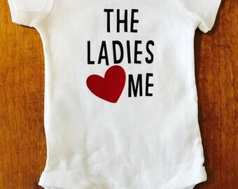 Valentine's Day Bodysuit, Baby Boys Bodysuit, The ladies love me bodysuit, Baby bodysuit, Sweet Valentine's Day bodysuit, Valentine's Day