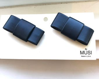 Vintage New Musi Dark Navy Matte Bow Shoe Clips