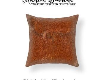Brown Rust Photo Throw Pillow, Rust Photo Pillow case, Industrial Decor, Rust Toss Pillow, Urban Decor Pillow, Edgy Rust Throw Pillow Cover,