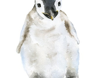 Penguin Chick Watercolor Painting - 11 x 14 - Giclee Print - Nursery Art Baby Animals