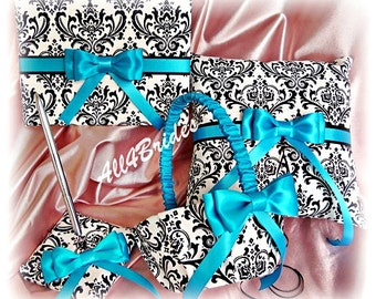 Wedding Madison Damask Turquoise Guest Book, Ring Bearer Pillow and Flower Girl Basket