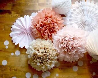 Fard à joues et Or Rose Wedding Party Pack - pompon et papier Fan décorations d'anniversaire, Baby Shower Decor, Bachelorette, douche nuptiale, rustique