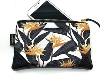 Mini Mustard/White Bold Bird of Paradise Zipper Pouch / Mini Clutch with inside lining and Zipper Pull or Leather Wristlet Strap