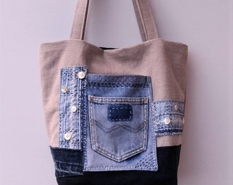 Small/medium tote bag, Jeans recycle bag, Shoulder bag, Handmade bag, One-of-a-kind bag, Sashiko style bag. Canvas tote bag