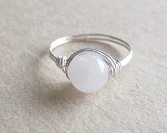 White quartz gemstone round bead wire wrapped ring pinky ring - size 4 1/2