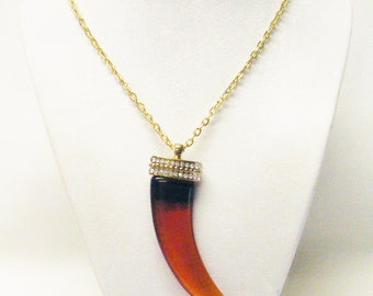 Beautiful Amber/Brown Acrylic Tooth Pendant Necklace