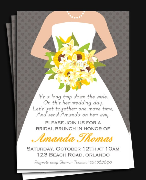 Bridal gown invitation printable or printed with free shipping stopboris Gallery
