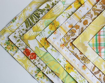Fabric Napkins, Cloth Napkins, Reusable Napkin Set, Retro Yellows, Handmade by Knotted Nest