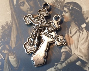2pc RUSSIAN ORTHODOX CRUCIFIX Religious Charms Silver