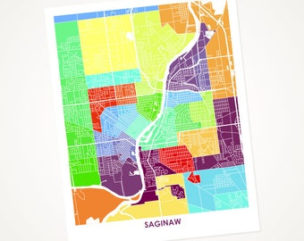 Saginaw Map Print.  Choose the Colors and Size.  Michigan Wall Art.  Colorful MI Decor.