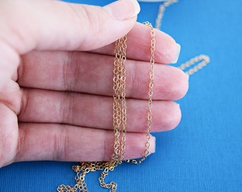 Gold Fill 1.6mm Flat Cable Chain, Gold Filled Chain, Chain by the Foot, Gold Filled Chain Wholesale,  Wholesale Chain, GF604