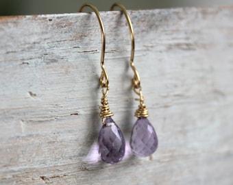 Amethyst Minimal Earrings- February Birthstone  - Dainty Earrings - Gold Earrings- Gemstone Jewelry - Jewelry Gift For Me
