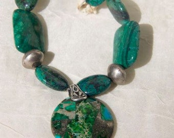NECKLACE: green azurite turquoise blue  green sea sediment pendant and azurite blue green beads sterling silver beads and findings OOAK
