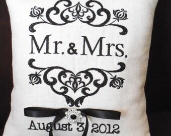Damask Mr. & Mrs. Ring Bearer Pillow (RB108)