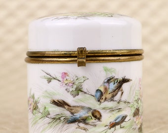 Antique porcelain box, hand painted enamel birds insects, jewelry trinket casket, dresser vanity jar, hinged lid, Victorian, French France