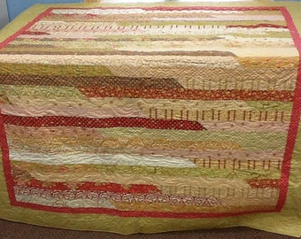 Brown, red, green, white jelly roll quilt, handmade quilt, moda quilt, strip quilt, cotton quilt, modern quilt,  large quilt,