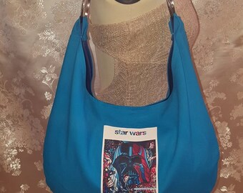 Hobo Bag - Blue with 1977 Star Wars Movie Poster, Darth Vader, Hans Solo, Princess Leia, Luke Skywalker, R2D2, and C-3PO