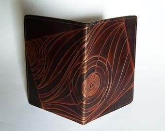 Leather Top-Stub Checkbook Cover - Leather Check Book Holder with Deco Design