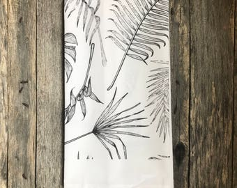 Black & White Palm Tea Towel (Design 2)