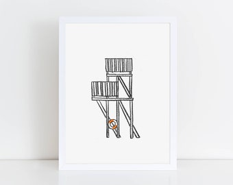 Nostalgia - Drawings from Finland. 'The Jump Tower' Risograph Art Print A4