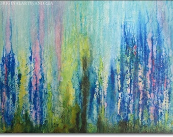 Textured Acrylic Painting Canvas Art ORIGINAL Abstract CONTEMPORARY ART Turquoise Blue Pink Green Landscape Decor 28x20x3/4  70cmx50cmx1,8cm
