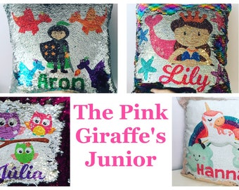 Mermaid sequin cushion COVER ONLY personalised with name, glitter reversible cushion cover, colour changing cushion cover