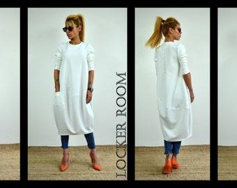 Long Sleeve Dress, Maxi dress, White Dress, Long White Dress, Maxi White Dress, Plus size tunic, Plus size dress, Maxi Dress White