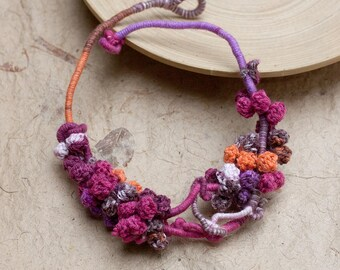Unique fiber necklace, crochet statement jewelry, magenta purple orange brown