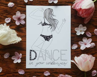 D for Dance In Your Underwear A5 Print Selfabet Self Care