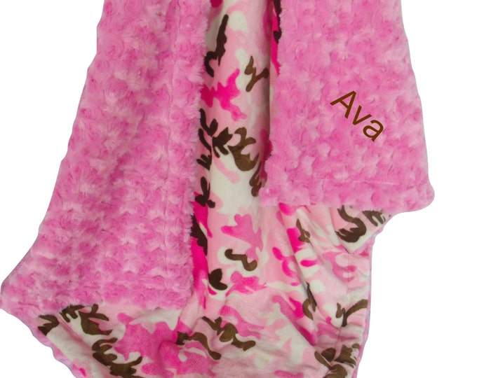 Pink Girl Camouflage Minky Dot Baby Blanket - Pink and Brown Camouflage Minky Blanket - available in three sizes,