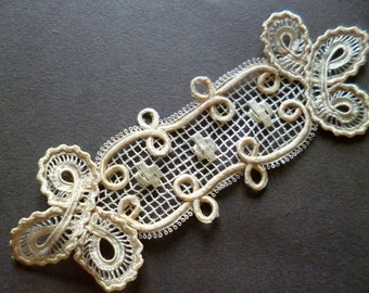 french  application lace vintage aplicación encaje beig de seda de pasamaneria