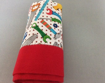 """Cotton Flannel Tool Time Blanket. 34""""x 34"""""""