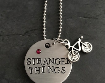 Stranger Things necklace jewelry netflix show hand stamped